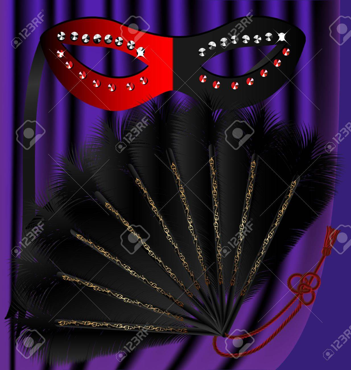 against the backdrop of a purple curtain black and red half mask decorated with sequins and a black feather fan, with a gold pattern Stock Vector - 8882794