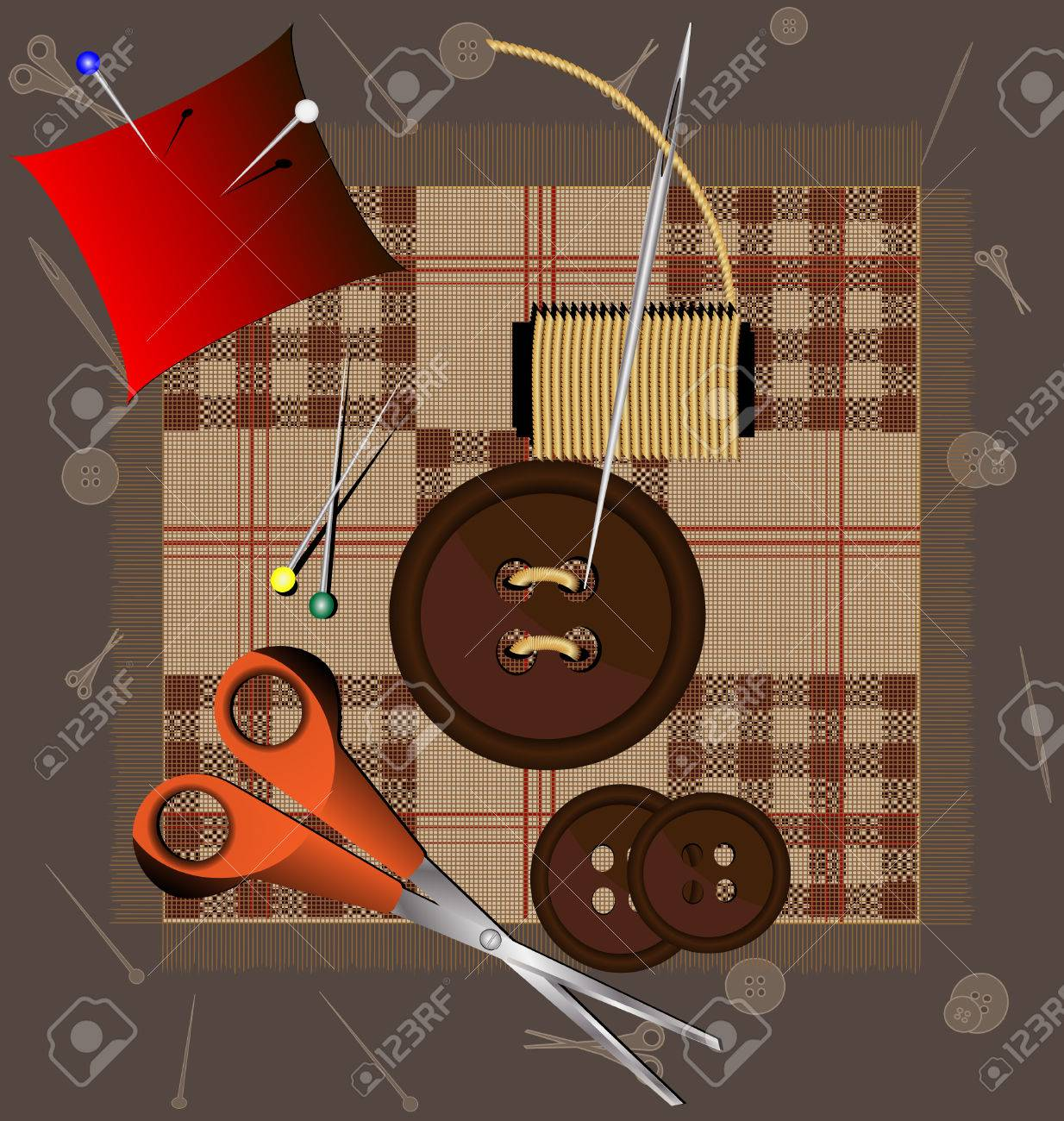 against the background of a piece of cloth sewing accessories: buttons, needles, thread, pins, scissors Stock Vector - 8882790