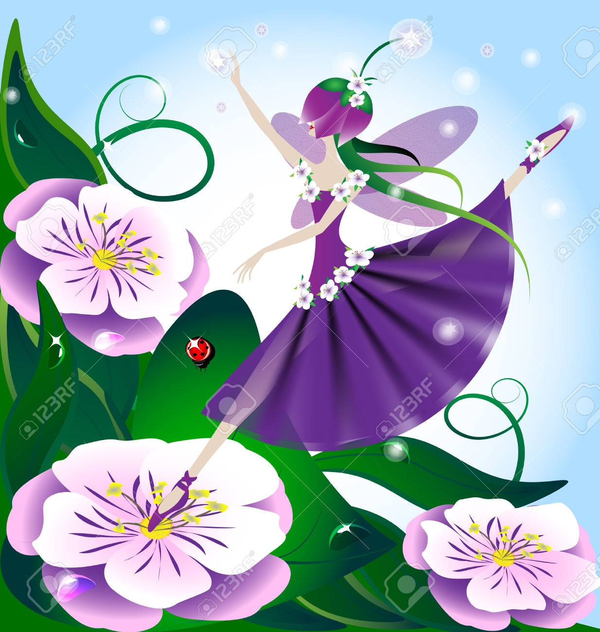 against the backdrop of huge purple flowers and green grass, lilac fairy, the creative magic Stock Vector - 8882795