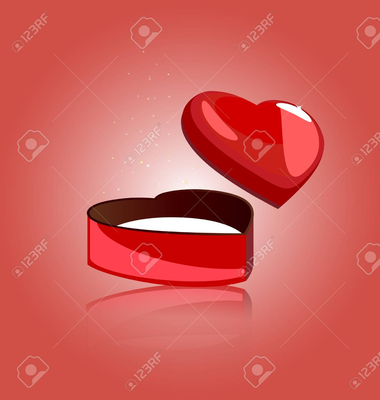 on a red background miniature gift box is a heart-shaped Stock Vector - 9162998