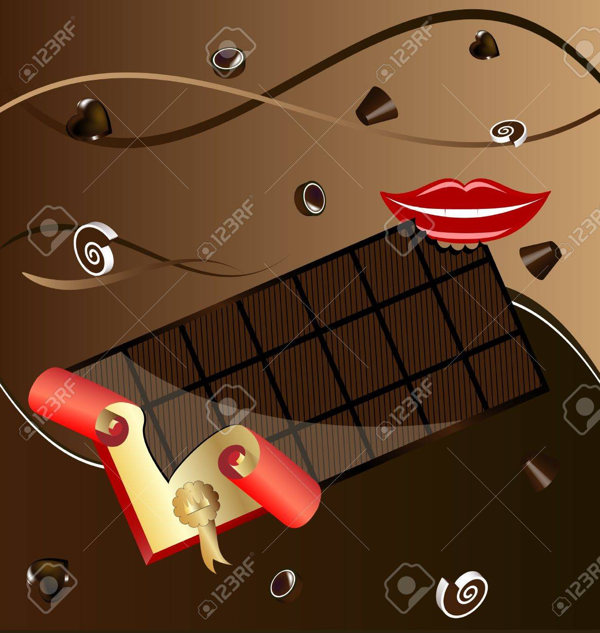 on an abstract background in shades of brown, chocolate candy and a big bar of chocolate in a wrapper, next to a smiling mouth Stock Vector - 9162997