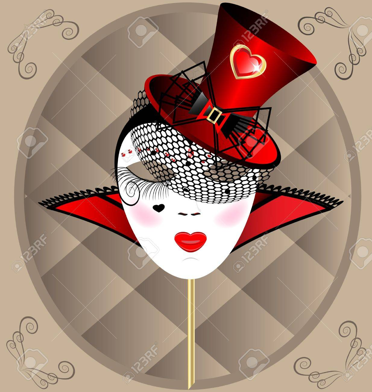 against the background of an abstract pattern carnival masks extravagant lady in a red hat with veil Stock Vector - 9301509