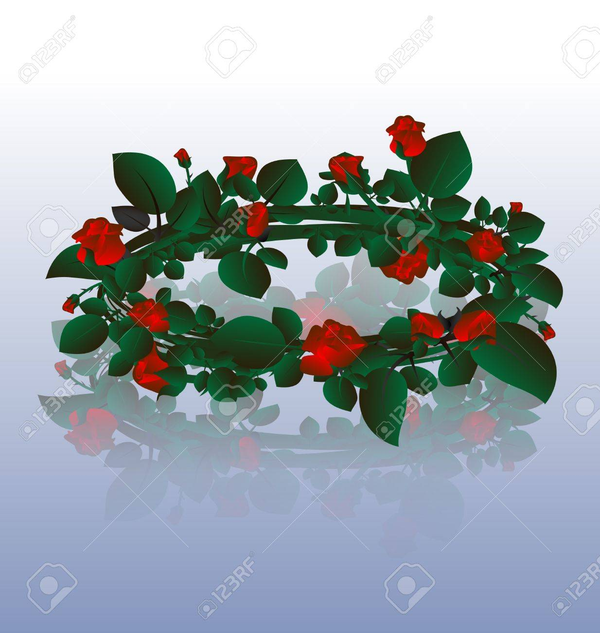 on an light background of a large wreath of red roses Stock Vector - 9403778