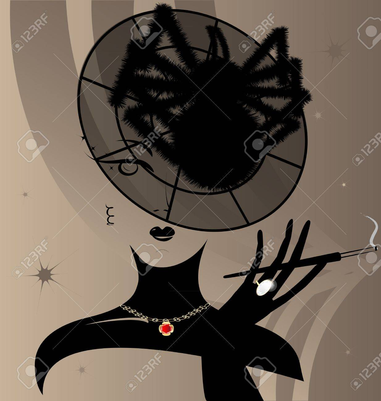 on a beige background with an abstract pattern of shapes face the mysterious lady in a translucent cap with a big black spider - 9427162