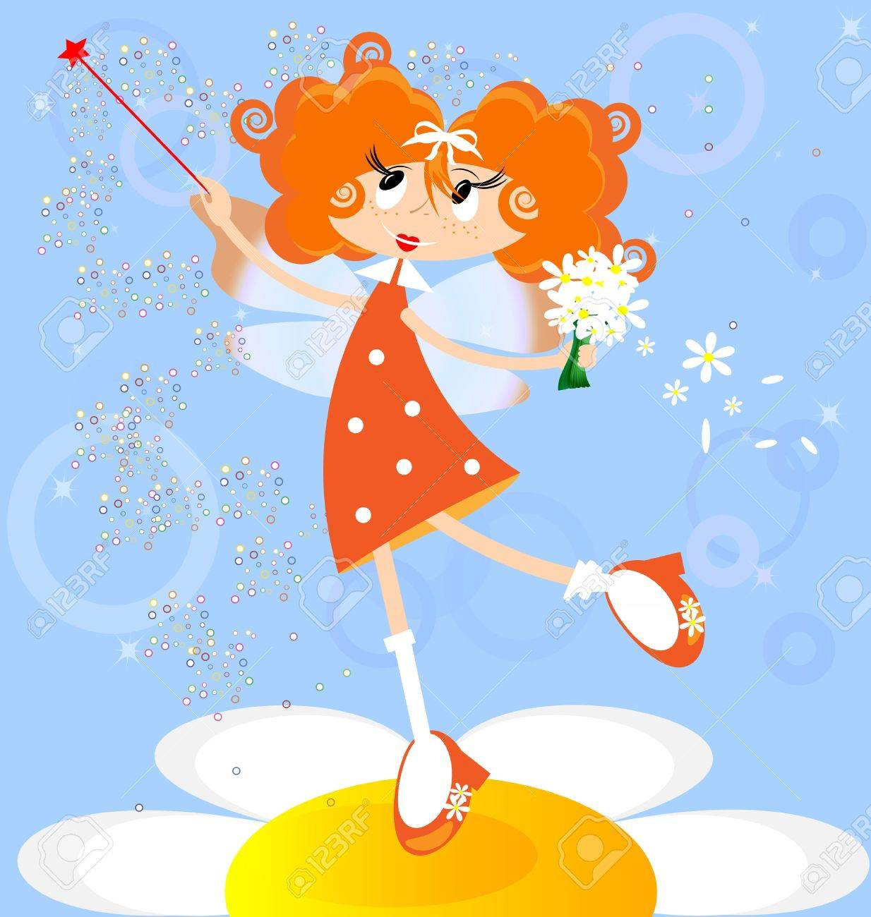 on a blue background red-haired girl fairy in a orange dress Stock Vector - 9555501
