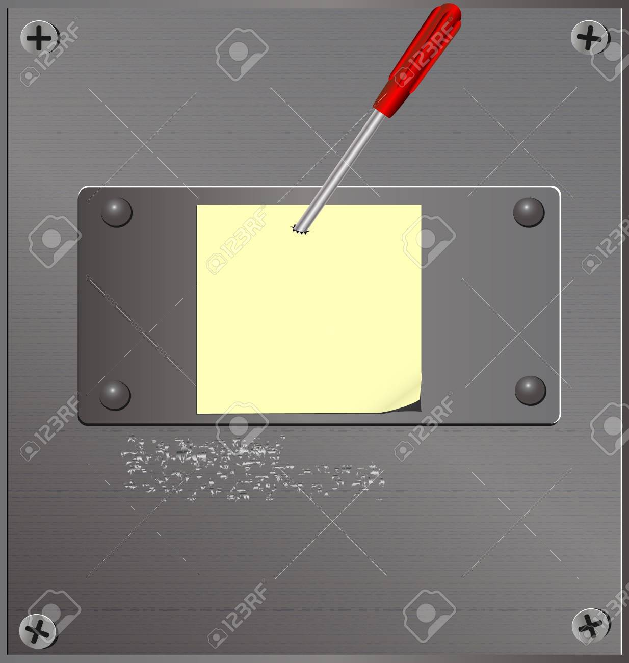 on the metal board is a piece of paper pinned brutal screwdriver Stock Vector - 9703382