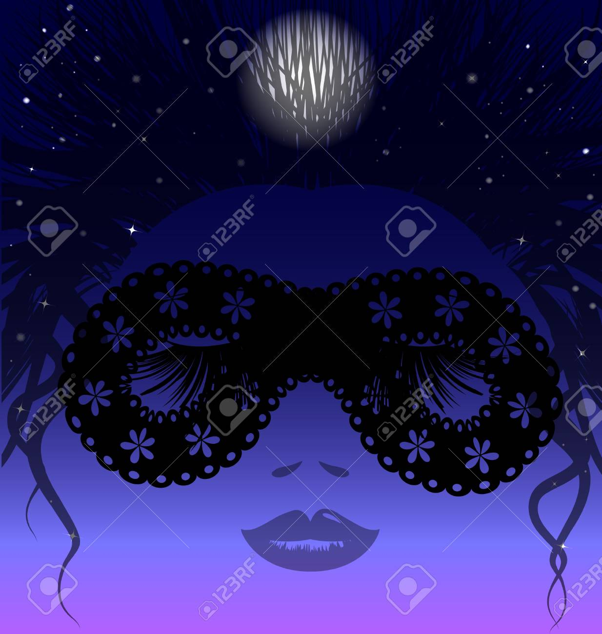 sleepy night in the image of a woman's face in a black half-mask Stock Vector - 9920825