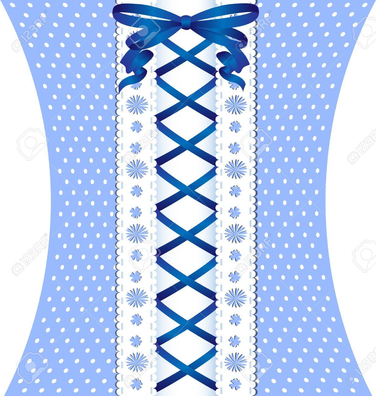 blue lacing between white lace and blue white fabric royalty free