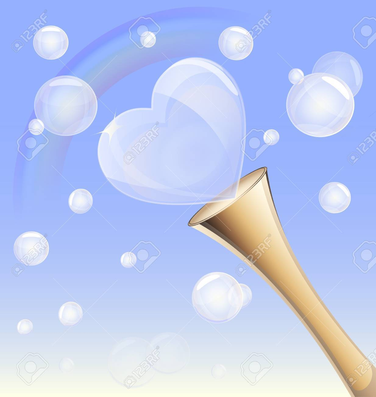 in the blue sky is a rainbow and a lot of bubbles, bubble blowing tube is in the form of heart Stock Vector - 10038622