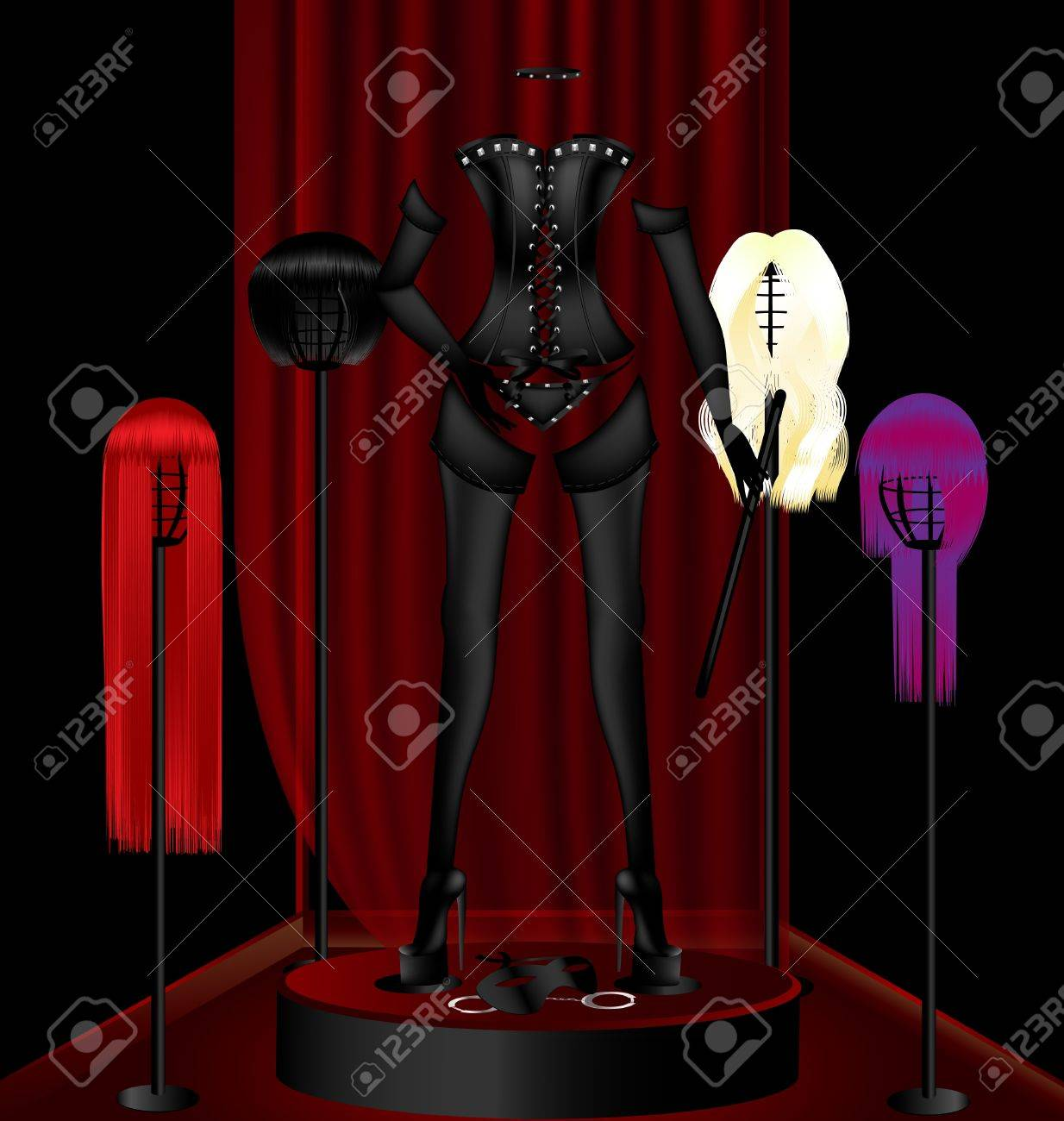 in black and red abstract dark window mannequin in a black sexy clothes, around four wigs Stock Vector - 10099971