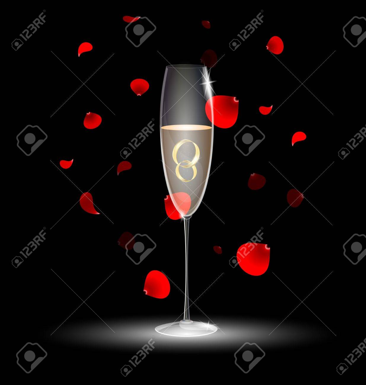 two rings in a glass of champagne Stock Vector - 10534228