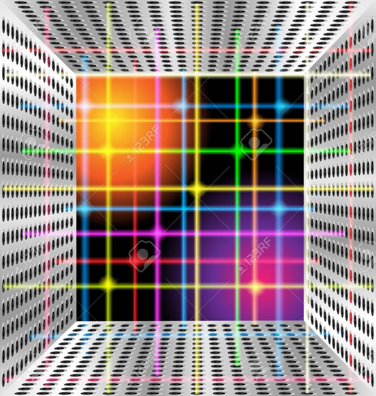 metal box and neon lines Stock Vector - 10596185