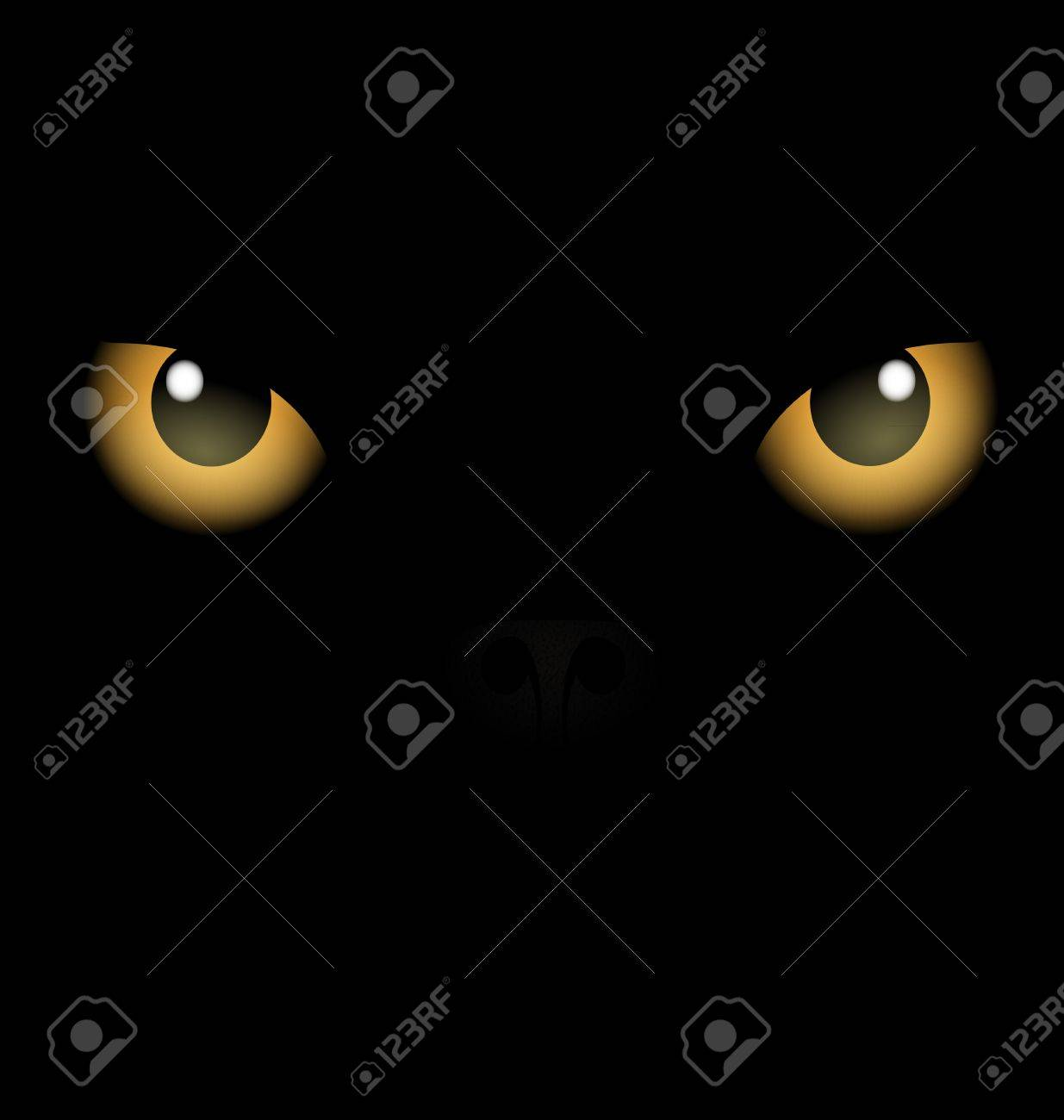 black background yellow eyes Stock Vector - 10802401