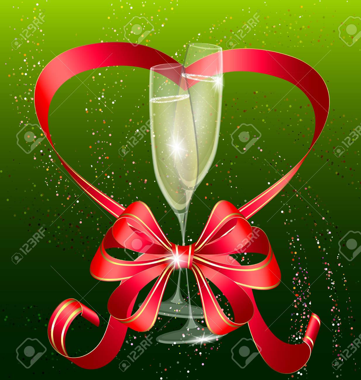 two champagne and red bow Stock Vector - 11534560
