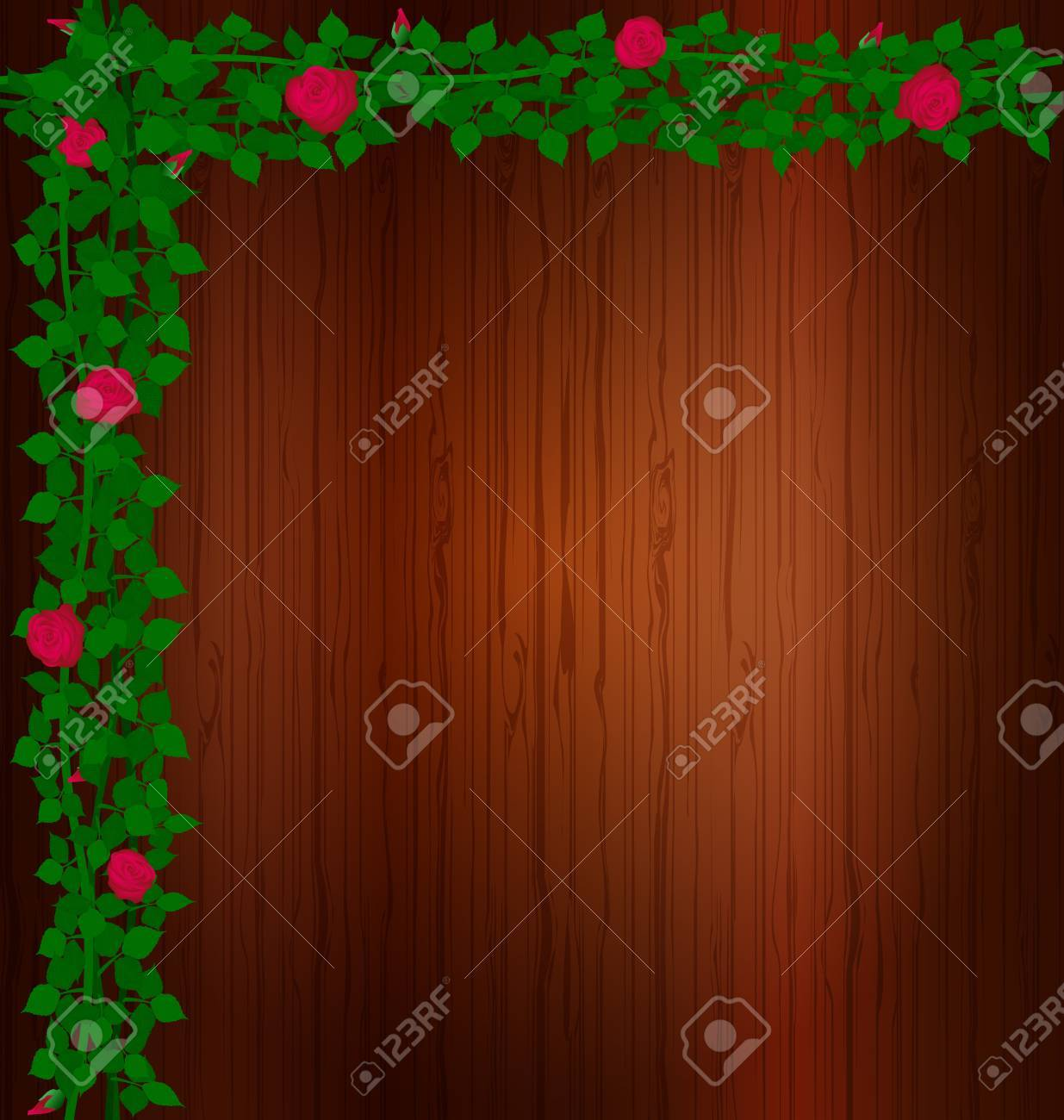 background wood and rose Stock Vector - 11594679