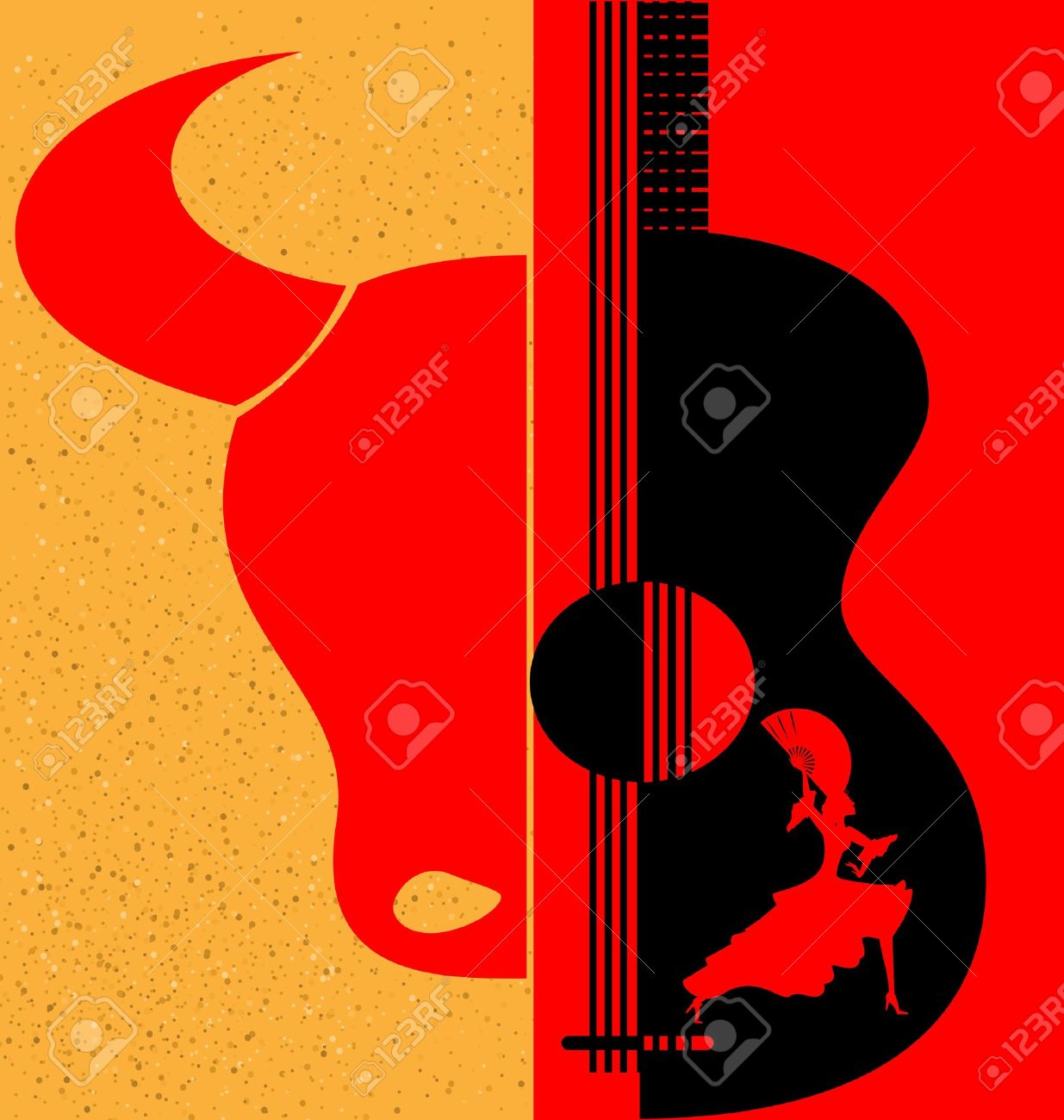 on red-yellow background are abstract silhouettes of Spanish dancer, bull and guitar Stock Vector - 11594705