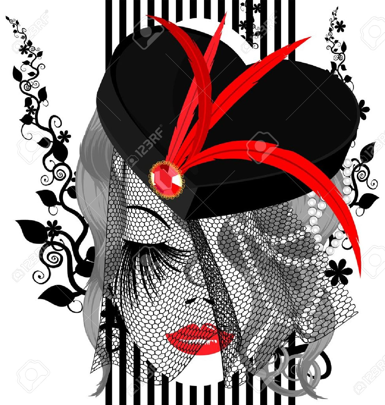 on a white background is outlines abstract woman s face with black hat with red feathers and veil Stock Vector - 12492211