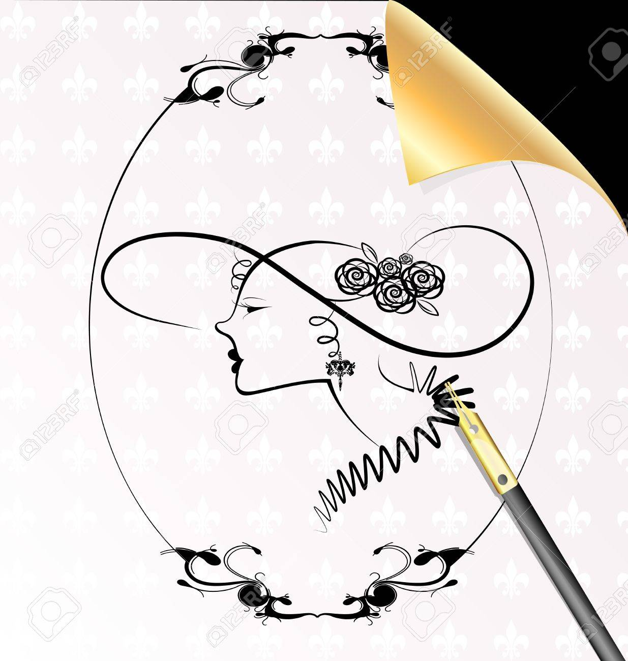 pen, sheet of paper and the image of a dame in the oval frame Stock Vector - 12492222