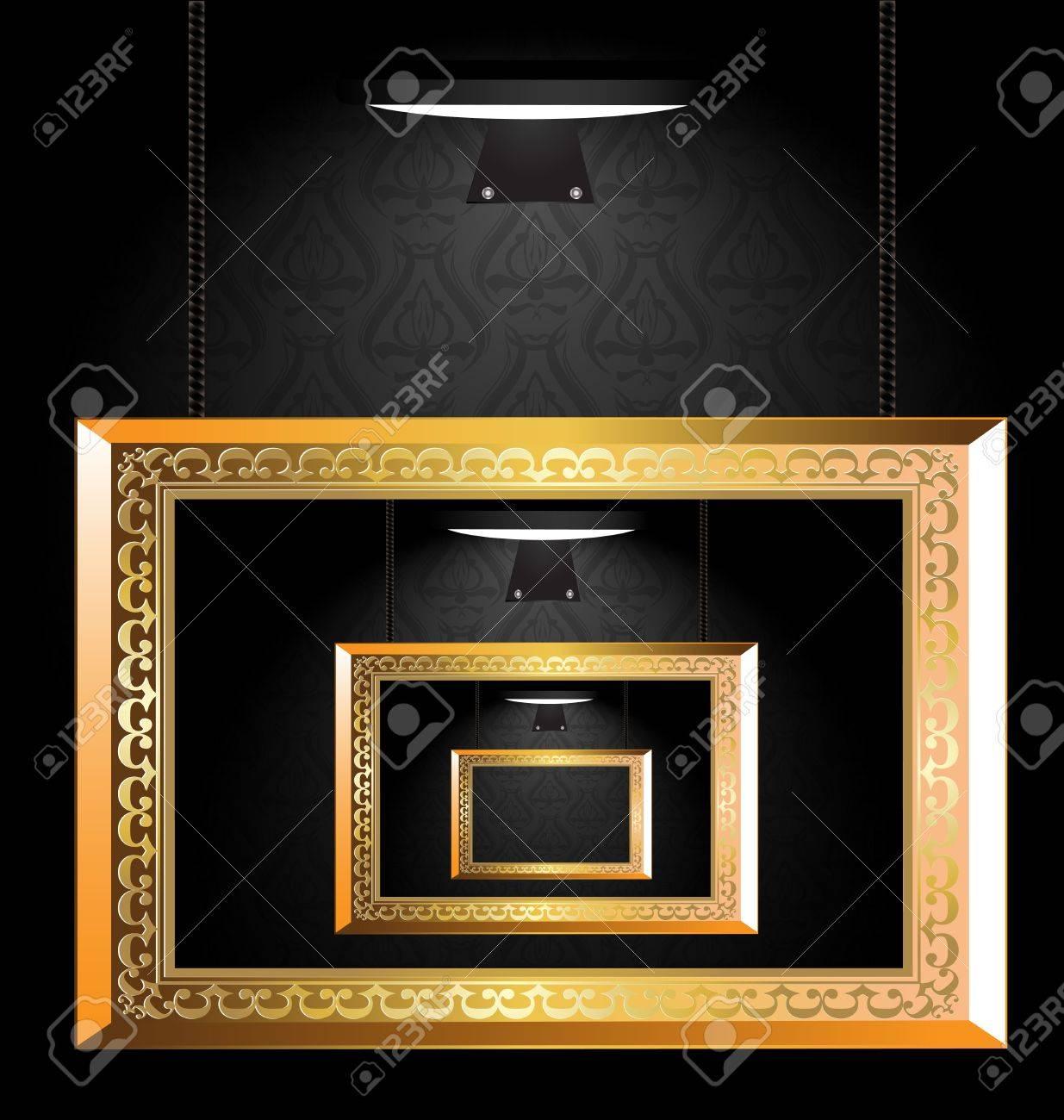 Pared Oscura, Más Ligero Y La Galería Vacía De Marcos De Oro ...