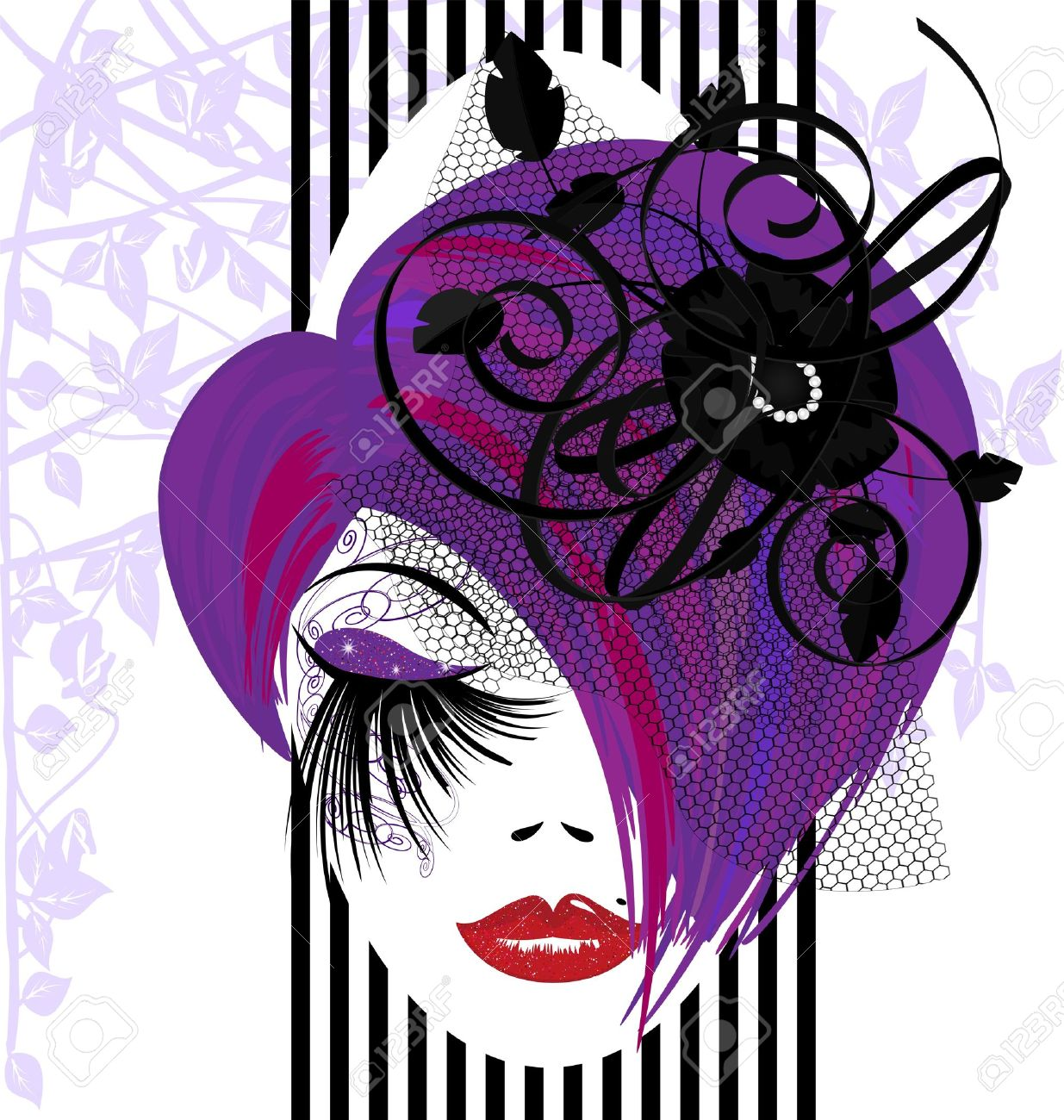 on a white background is outlines woman s face with purple hair and black ribbons Stock Vector - 12792514