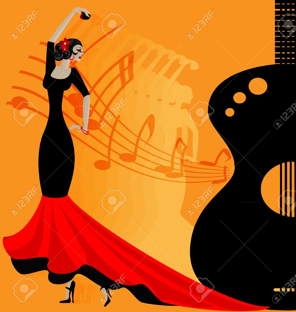 on abstract musical background is dancer flamenko in red-black clothe Stock Vector - 12792352