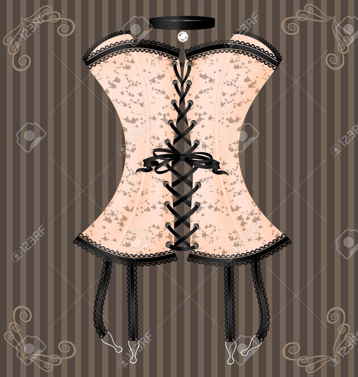 on a vintage background is a big beige corset decorated with black lace - 12821671