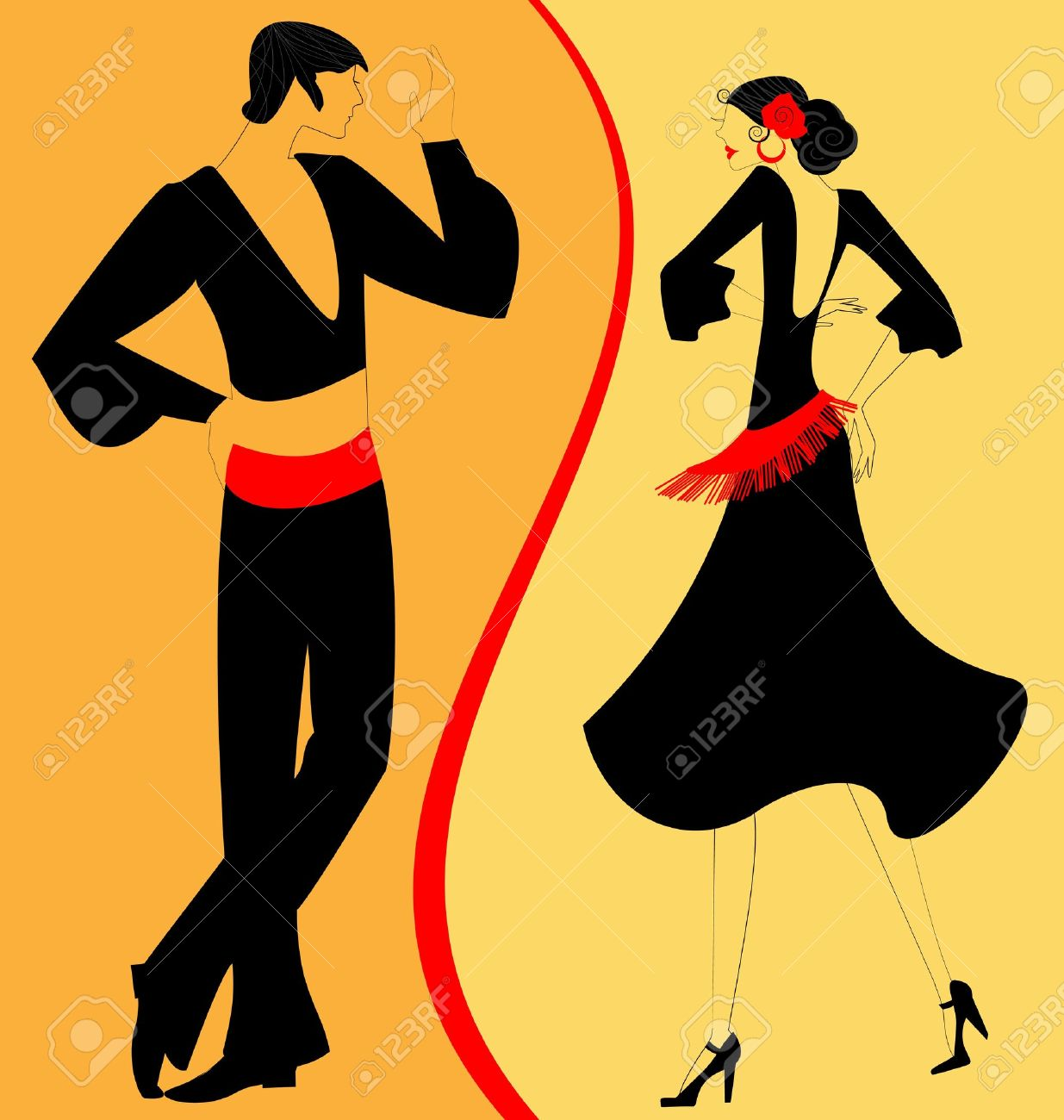 On abstract red yellow background are couple of spanish dancers on abstract red yellow background are couple of spanish dancers stock vector 13729517 voltagebd Gallery