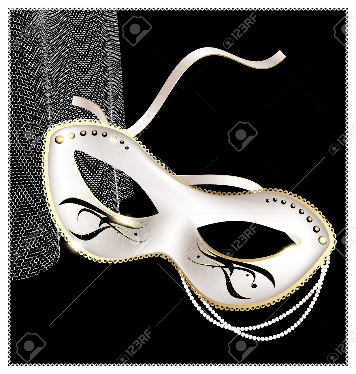 on an black background is a carnival white half mask decorated with beads and ribbon Stock Vector - 14219543