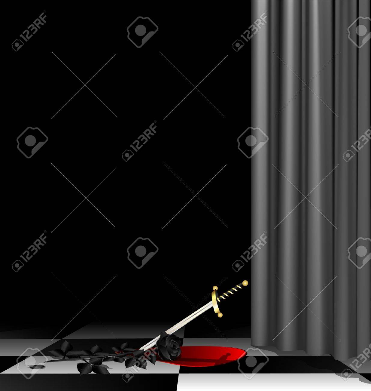 Mysterious Dark Room With A Black Rose A Dagger And The Blood