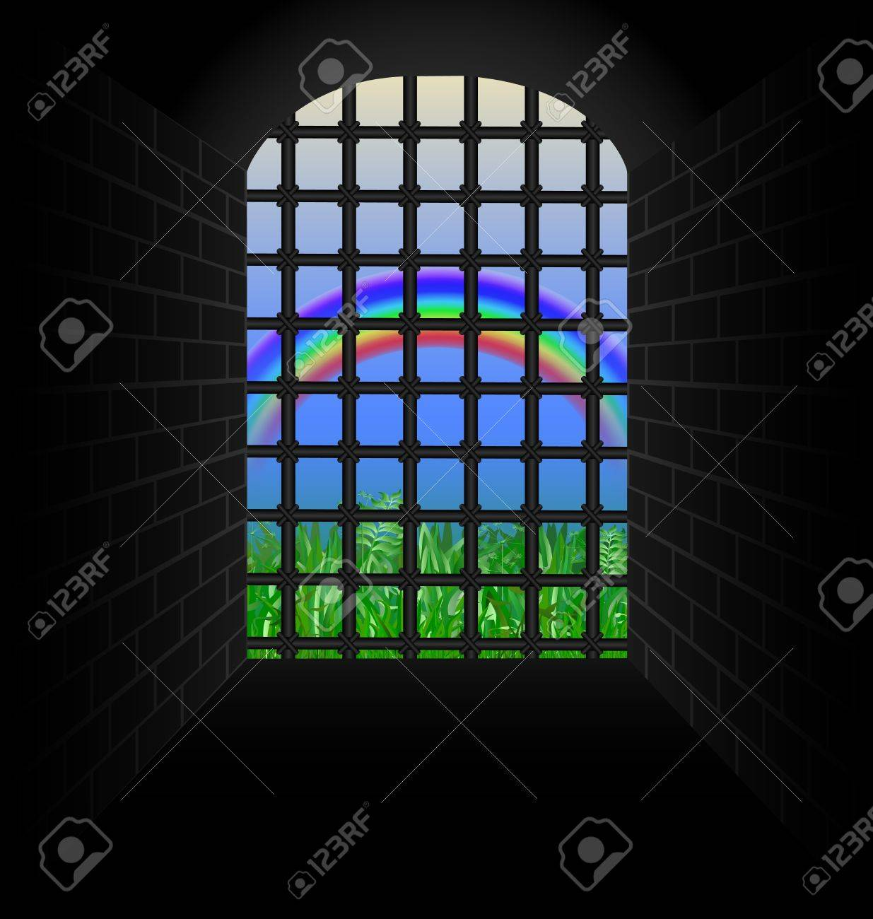 stone tunnel with bars for a green meadow and rainbow Stock Vector - 15045007