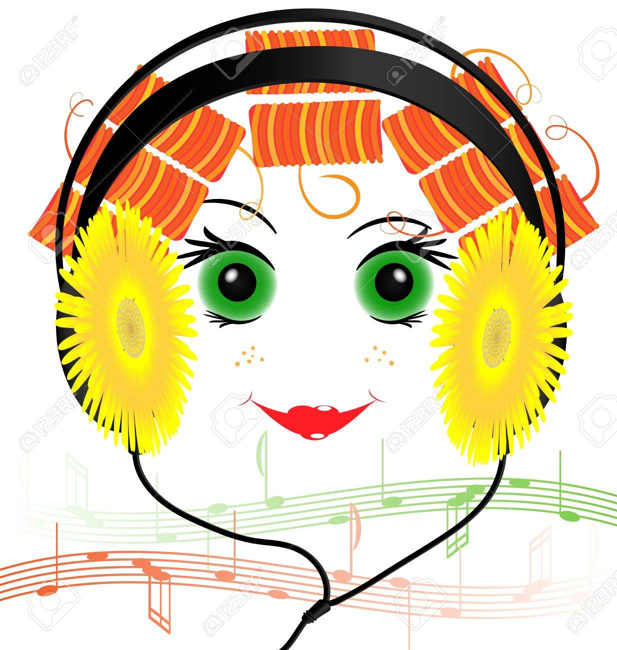 music headphones in the form of yellow flowers and smiling funny