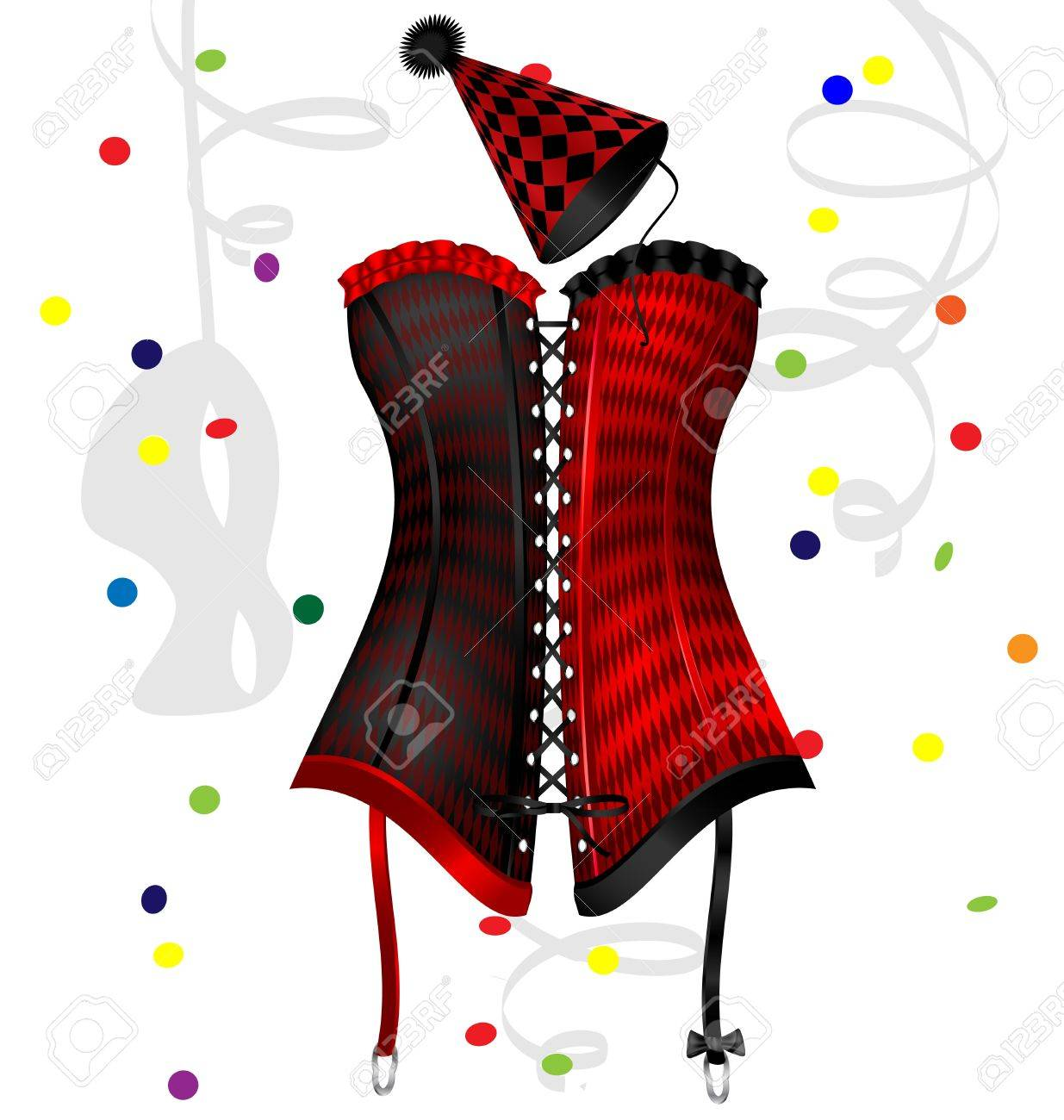 on a white background is a big red-black carnival corset Stock Vector - 15804265