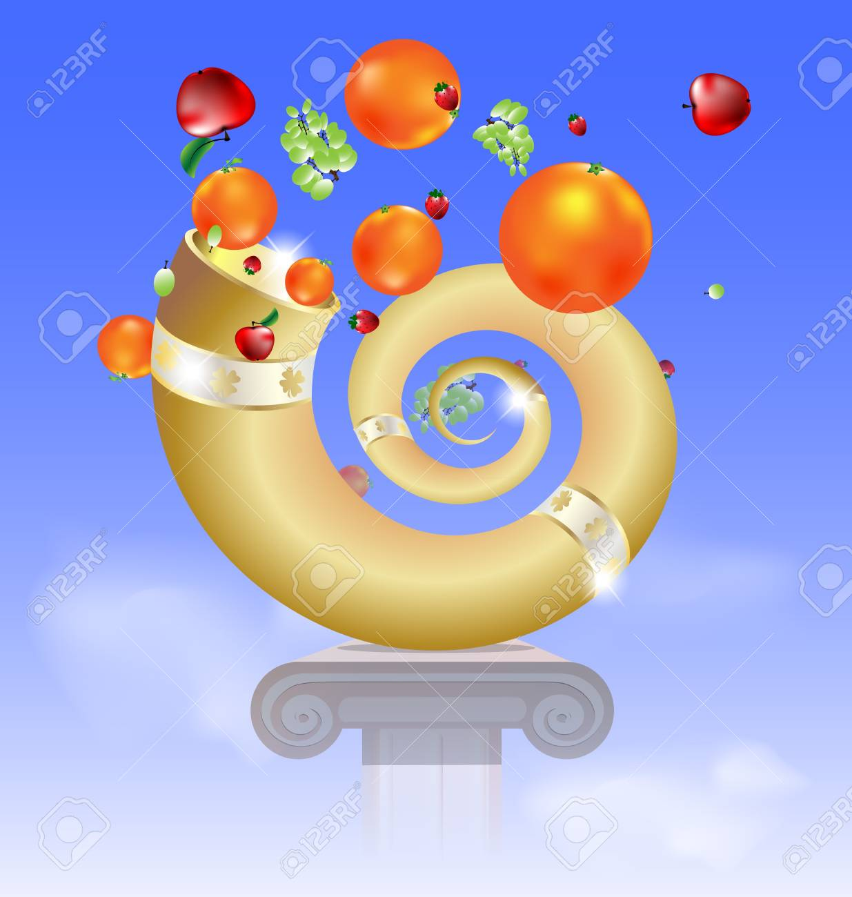in the sky on the abstract basis is golden horn of plenty Stock Vector - 16060492