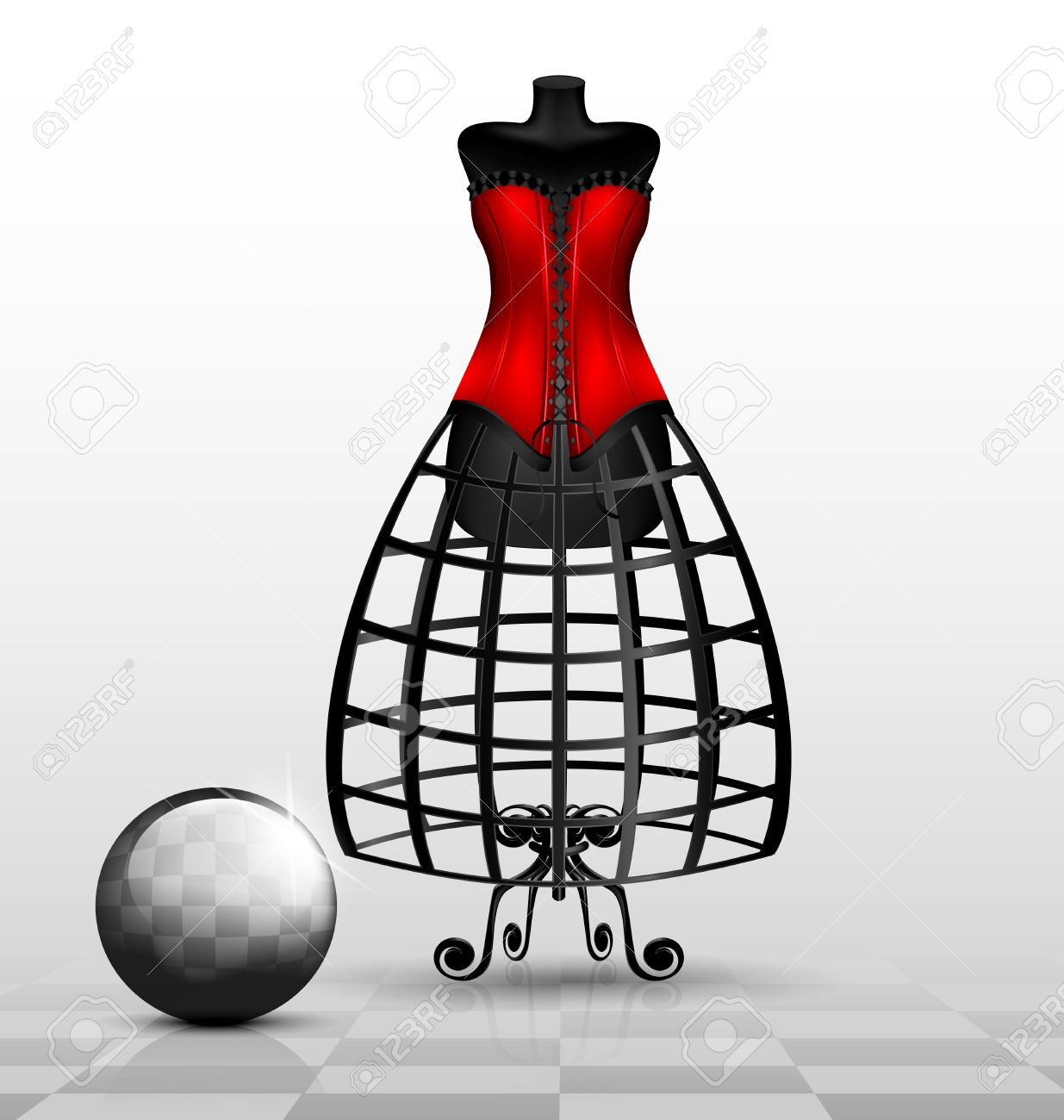 in black-white abstract room is a big black dummy in red corset Stock Vector - 16476270