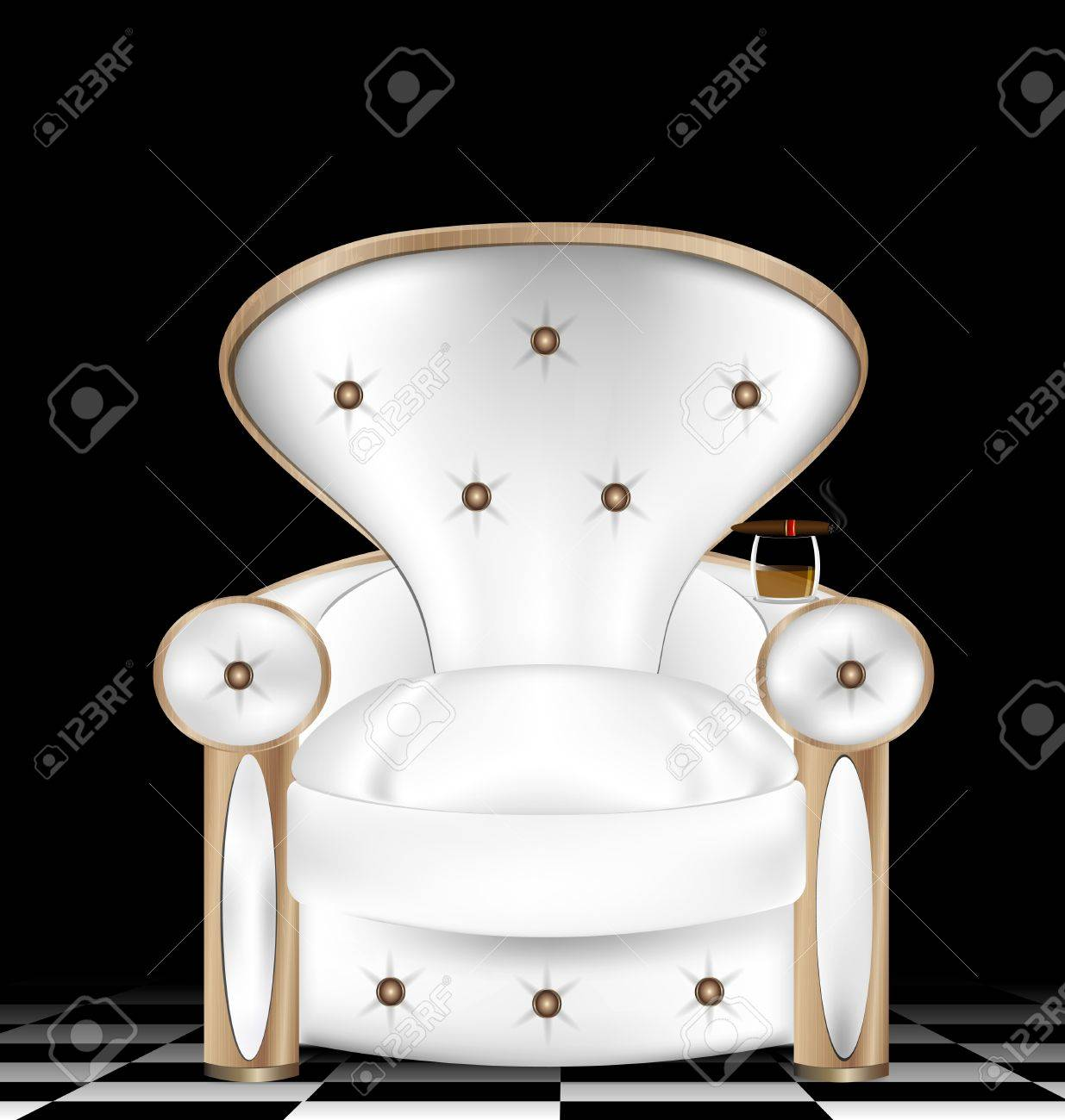 a large white armchair in a abstract dark room Stock Vector - 16563621