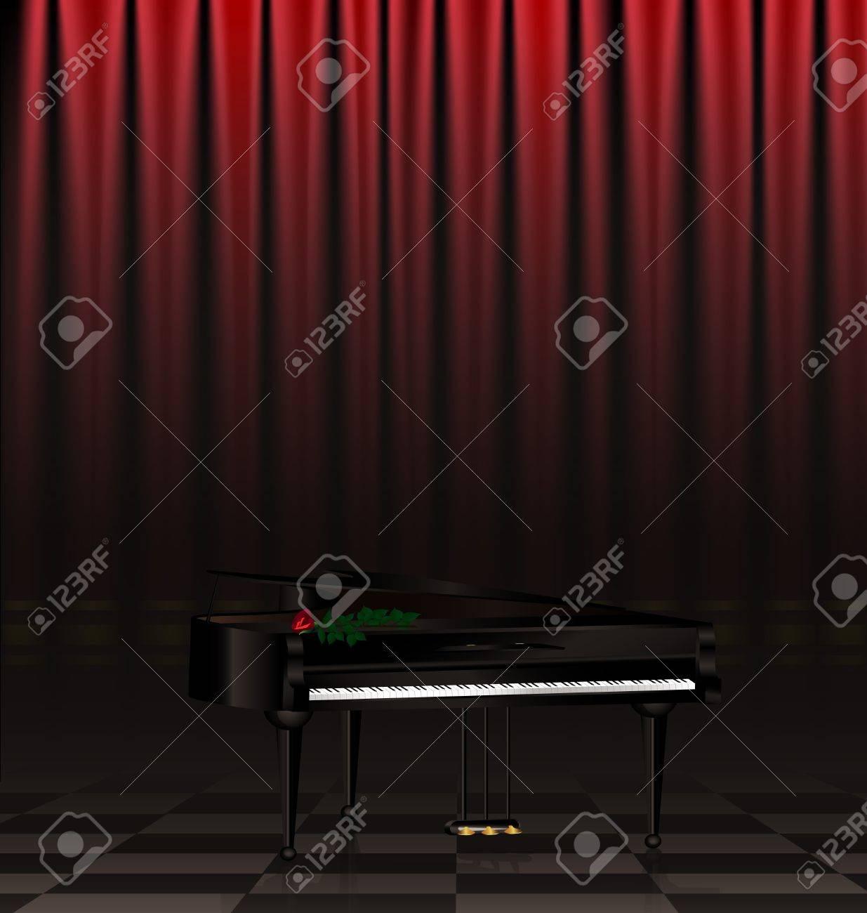 in a dark scene are black grand piano and red rose Stock Vector - 16939669