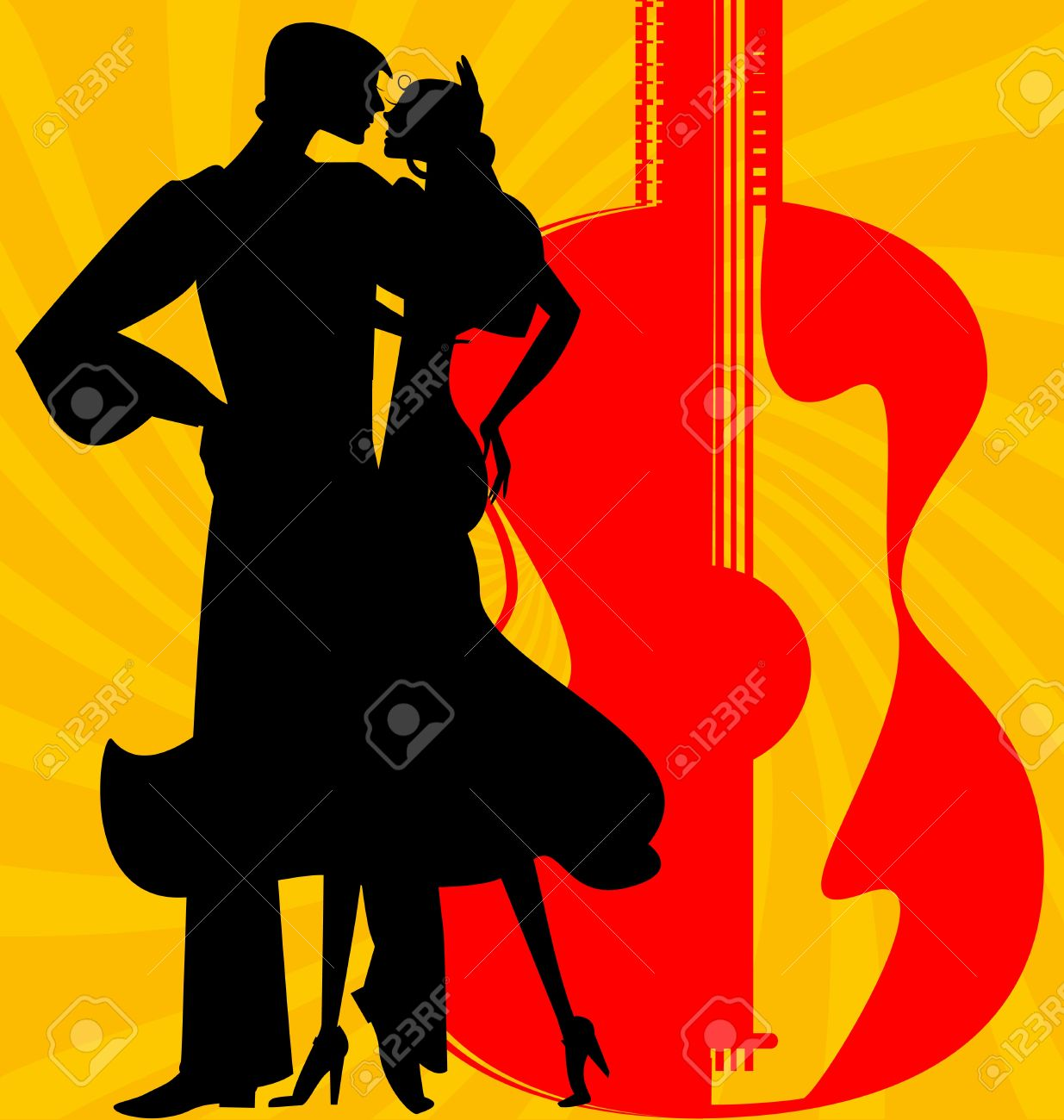 on abstract red-yellow background are couple of Spanish dancers Stock Vector - 20326016