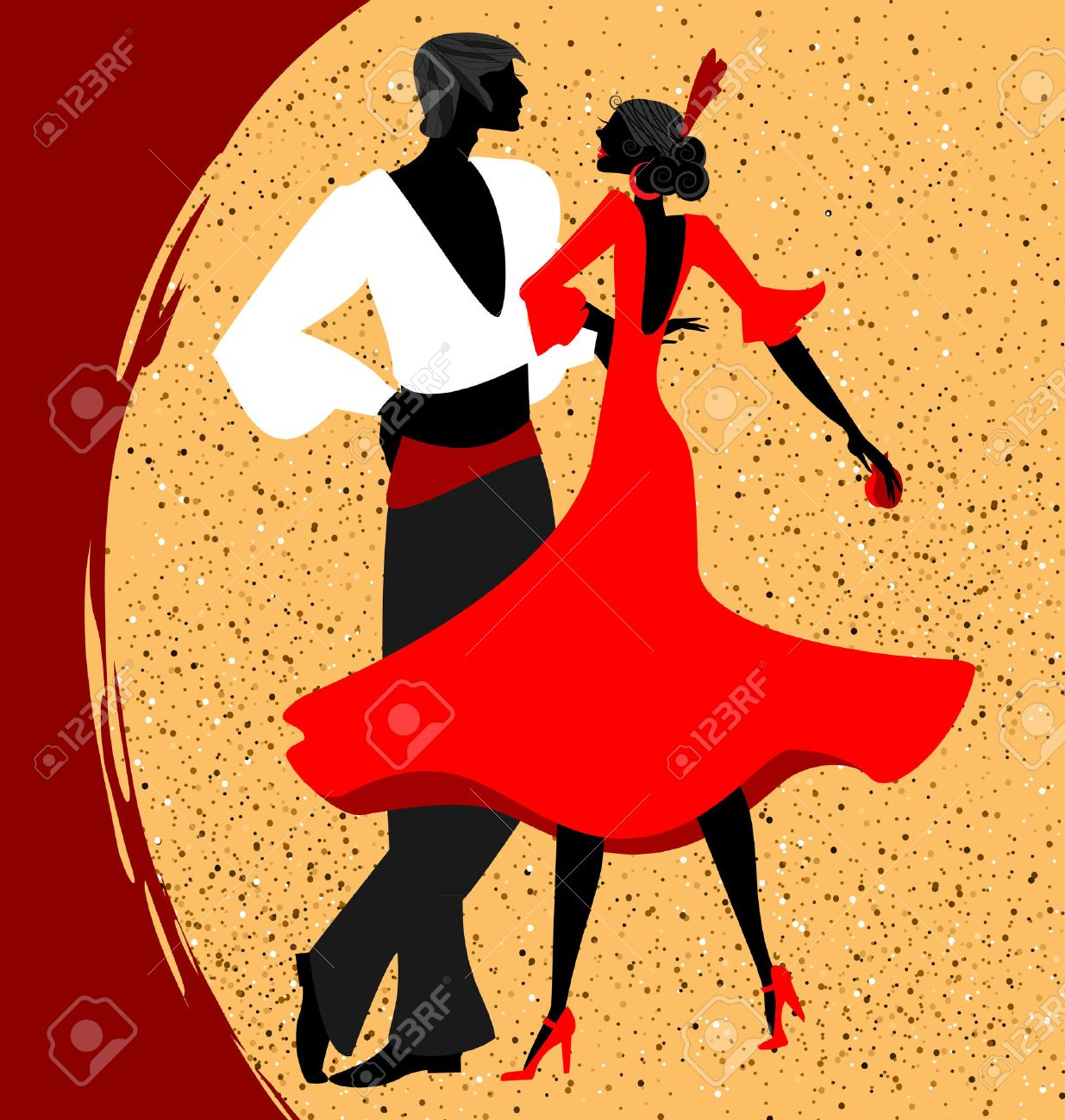 abstract red beige background and couple of spanish dancers