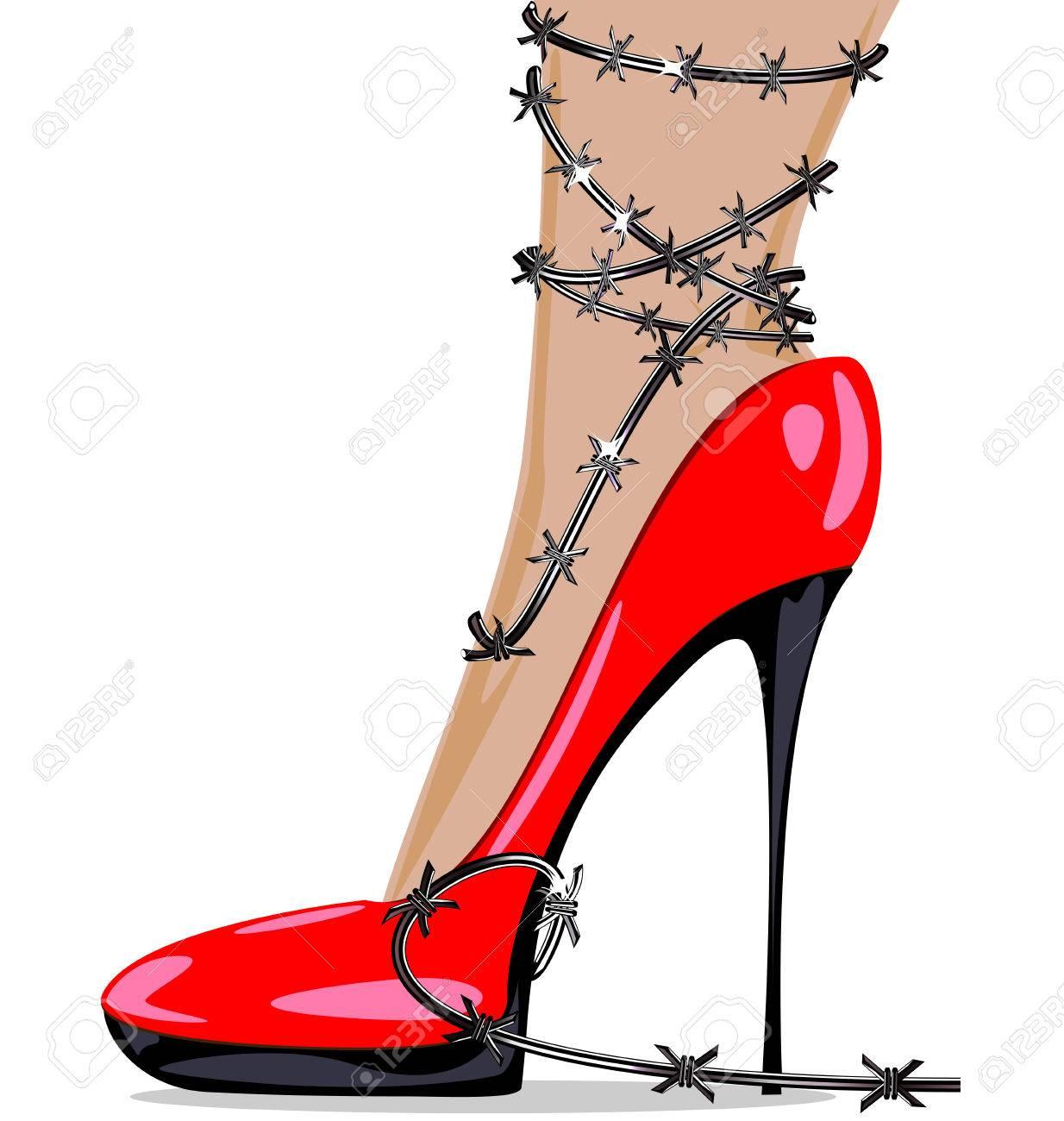 Púas Pie De En Alambre Zapatos Mujer Rojos Y 43Aj5RL