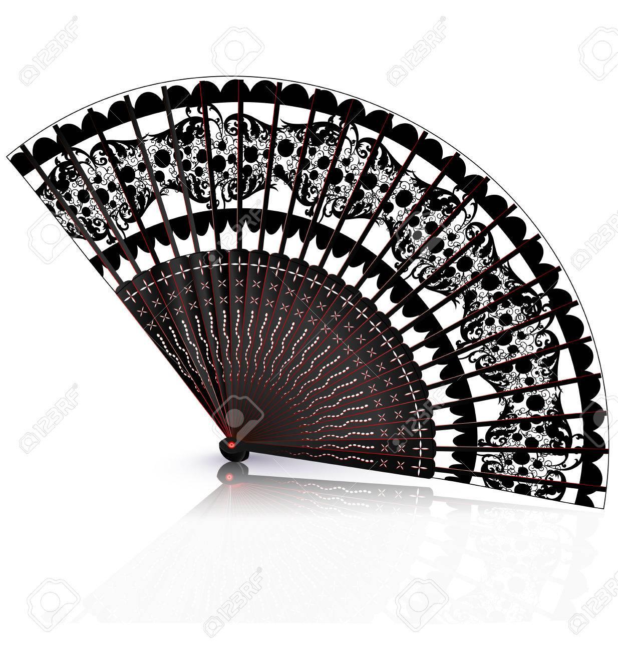 白い背景と黒赤オールドファンのイラスト素材・ベクタ - Image 50413960.