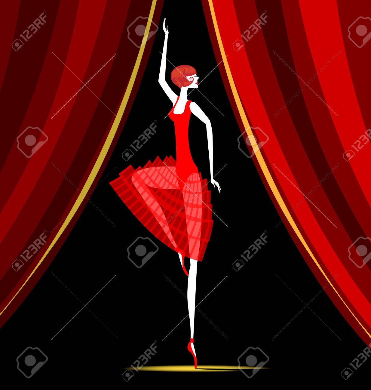 Red Curtain And Dancing Ballet Dancer Stock Vector