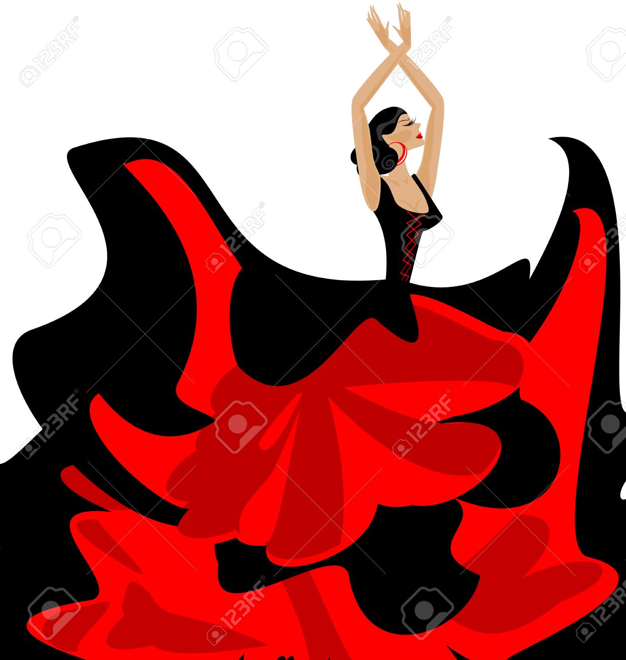 White background and spanish dancer in red black dress royalty white background and spanish dancer in red black dress stock vector 60186094 voltagebd Gallery