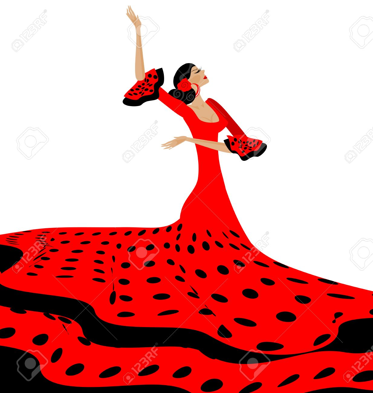 White background and spanish dancer in red black dress royalty white background and spanish dancer in red black dress stock vector 60186107 voltagebd Gallery