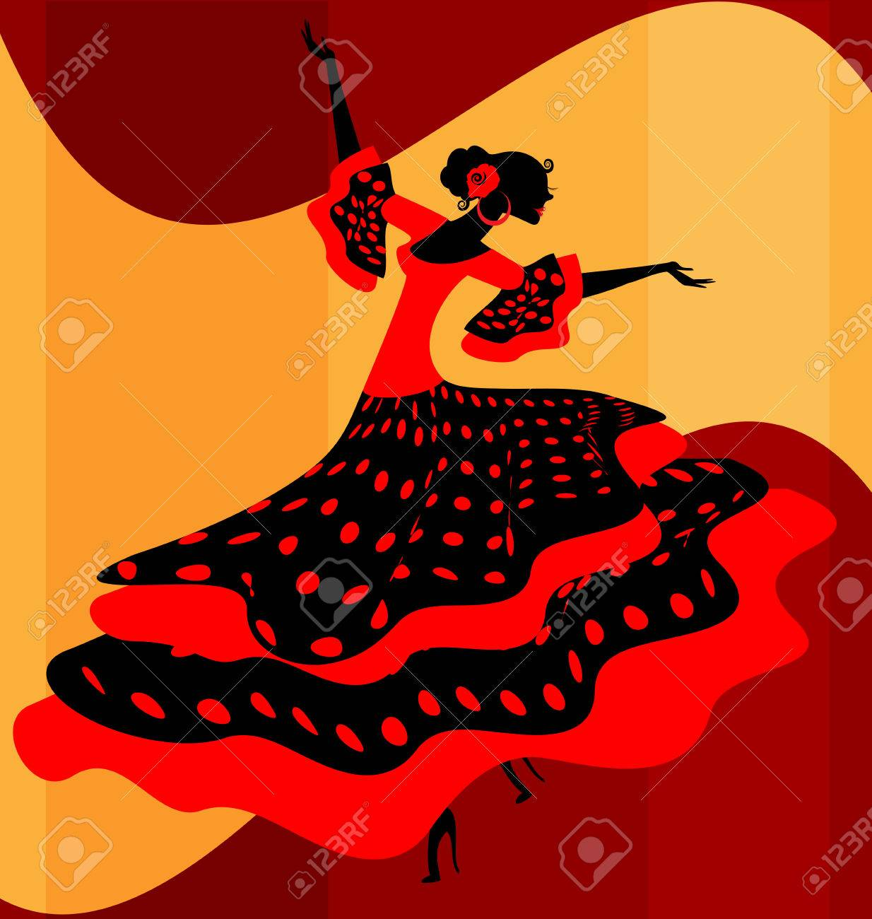 Abstract background and spanish dancer in red black dress royalty abstract background and spanish dancer in red black dress stock vector 60186109 voltagebd Gallery