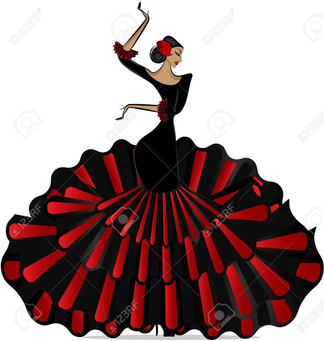e4666e4fa Abstract Flamenco Girl In Dance. Royalty Free Cliparts, Vectors, And ...
