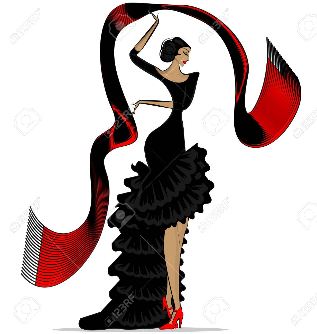 white background and abstract image of spanish dancer in black rh 123rf com National Hug Day Clip Art Clip Art Hats Scarves Mittens