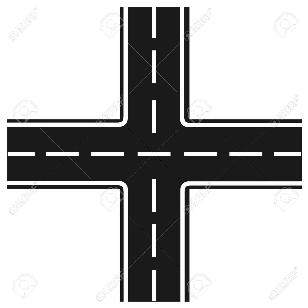 road junction, Illustration crossroads, highway intersection, - 58018511