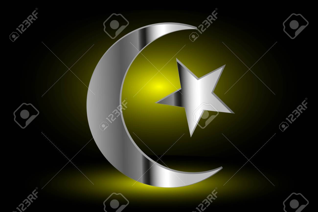 Muslim Symbol Islam Symbol Crescent And Star Icon Of Islam On A