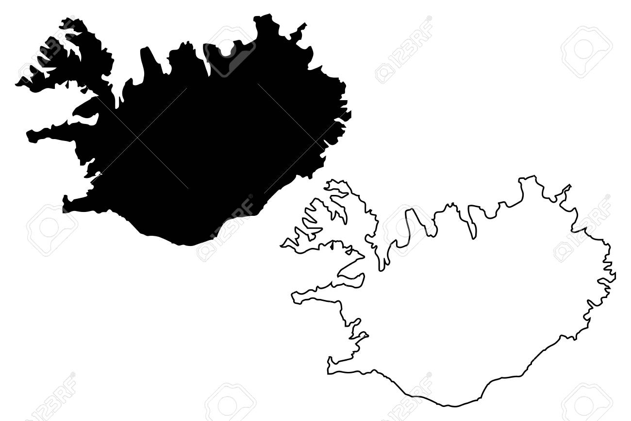 Iceland Map Vector Illustration, Scribble Sketch Iceland Royalty ...