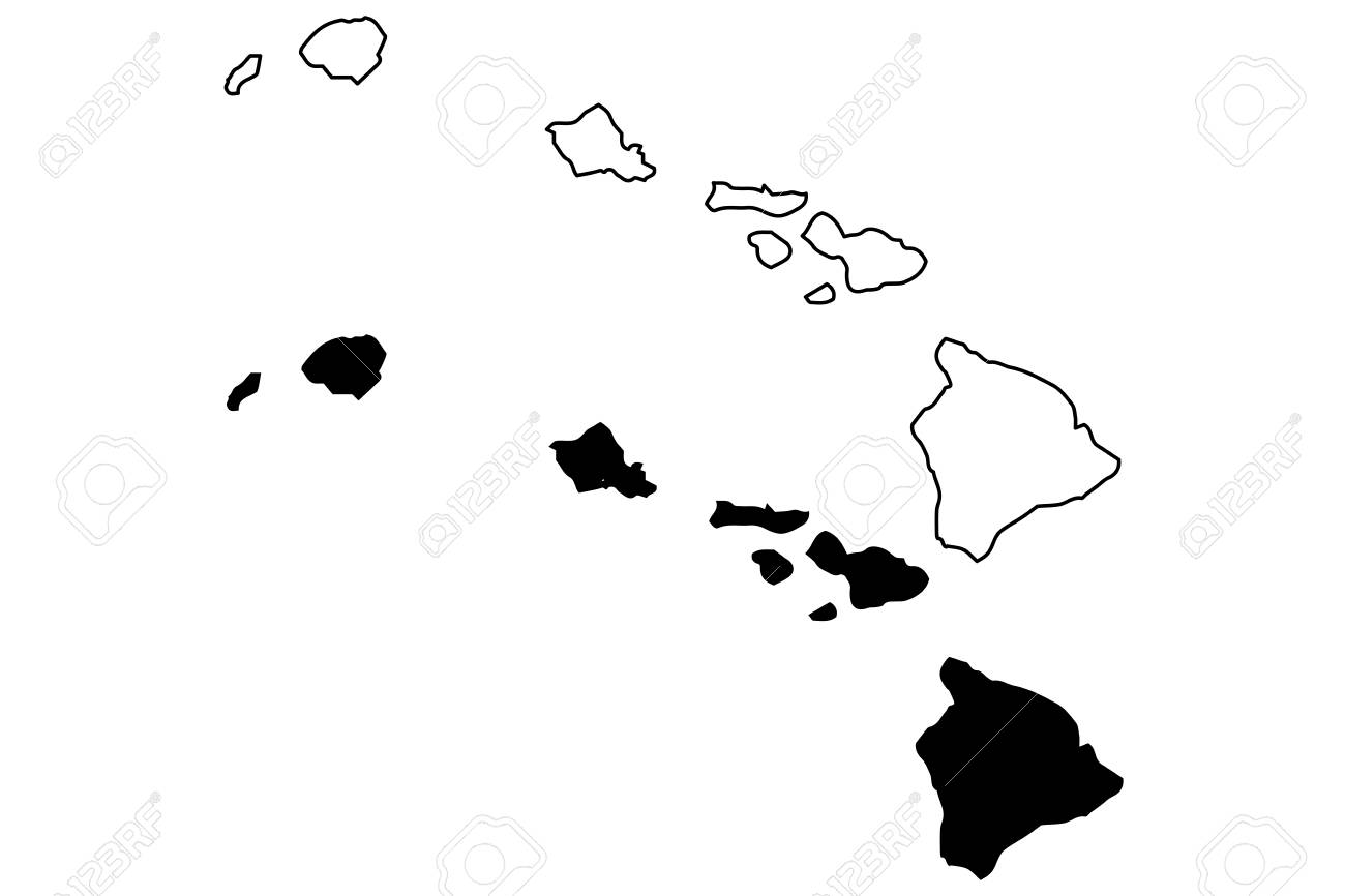 Hawaii Map Vector Illustration Scribble Sketch Hawaii Royalty Free